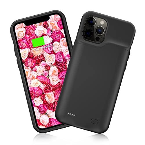 HUOBAO Custodia per batteria per iPhone12/12Pro, [5000mAh] Custodia di ricarica per iPhone12/12Pro, custodia protettiva di ricarica portatile, batteria estesa ricaricabile per (6,1 pollici)-nero