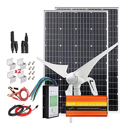 Kit completo de viento solar de 600W, 12V, con inversor de 2000W: 1 generador de turbina de viento de 400W + 2 paneles solares monocromáticos de 100W de alta eficiencia + controlador + cables+ soporte