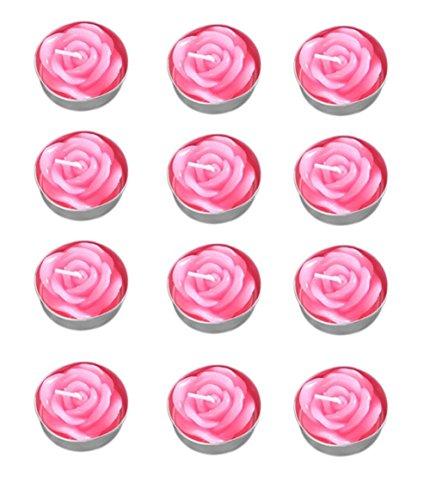 Leisial 12 Stück Teelicht Set Kreative Kerze Romantisches Rose Teelicht Rauchfrei Teelicht für...