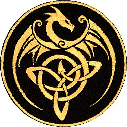 Celtic Knot Dragon Patch Iron On Applique - Black, Nonmetallic Champagne Gold - 4' Round - Made in The USA