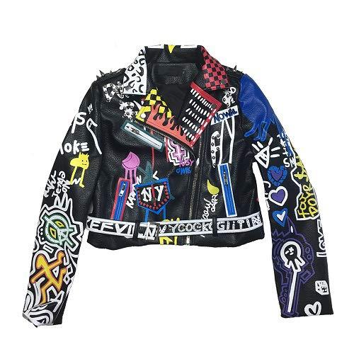 NCKLY Jacke Mit Damenprint Lederjacke Frauen Graffiti Bunter Druck Biker Jacken Und Mäntel Streetwear Damen Kleidung