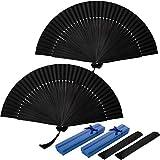 2 Piezas Abanico Plegable de Mano Negro Abanico de Bambú de Mano Abanico de Seda Japonés Chino Rave para Mujer Hombre Decoración de Pared Regalo Fiesta Baile con Caja de Regalo y Bolsa de Franela