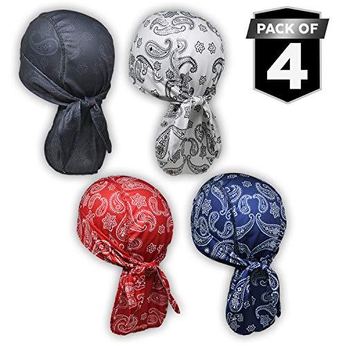 Cooling Helmet Liner - Do Rag/Dew Rag Skull Cap Beanie for Men - Pirate Hat Bandana & Motorcycle Head Wrap