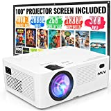 MVV Mini Outdoor Projector, 300 ANSI Lumens [Brightness Over 6500 Lux] [Projector Screen Included] 1080P Supported Video Projector, 260''Display Compatible with TV Stick HDMI USB VGA TF DVD