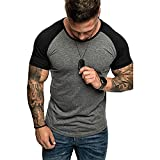 Musculosa Shirt Hombre Moda Cuello Redondo Empalme Hombre Casuales Camisa Básica Ajustado Elástica Manga Corta T-Shirt Verano Moderno Entrenamiento Hombre Deportiva Camisa A-Grey XXL