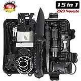 LC-dolida Survival Kit 15 in 1, Außen Notfall Survival Kit mit Messer/Taktische Taschenlampe für...