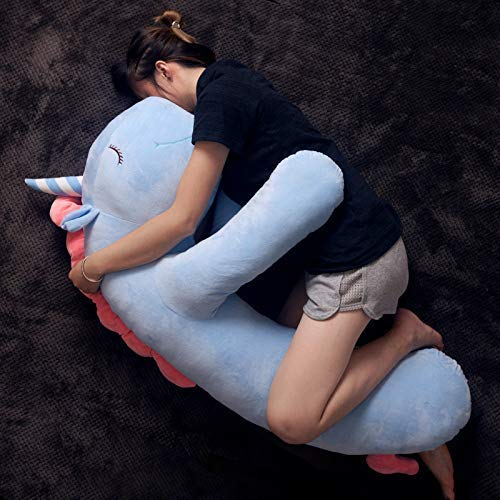 Chunjiao Einhornkissen Lange Streifenkissen Niedliche Cartoon Freund Schwangere Frau Schlafen um 85cm Gelb Hirsch U-förmiges Kissen (Color : Sky Blue Unicorn, Size : 85cm)