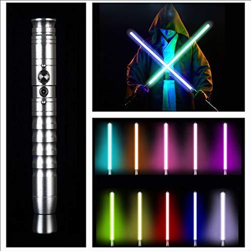 NENGGE Luke Lightsaber FOC Metal Hilt RGB Light Sabre Black Series FX Sabre Blades con Sonido y luz 11 Cambios de Color,Plata,11 Colors
