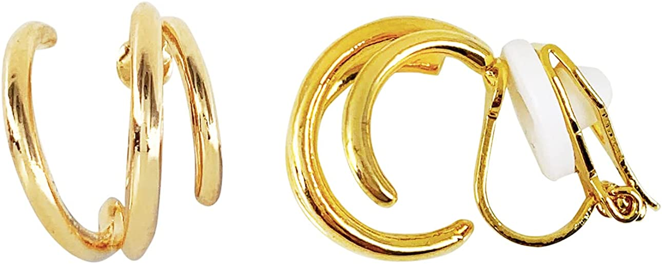 HAISWET Boho Style Twisted Art Deco Hoop Clip On Earrings Gold Tone
