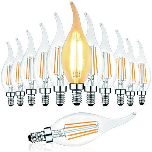 Svater 12 Pack E14 Lampadina a candela a filamento a LED con punta a fiamma, C35 4W - 40W Lampadine a incandescenza Equivalente Super Warm White 2700K Edison Ambra Lampadina a candela, non dimmerabile