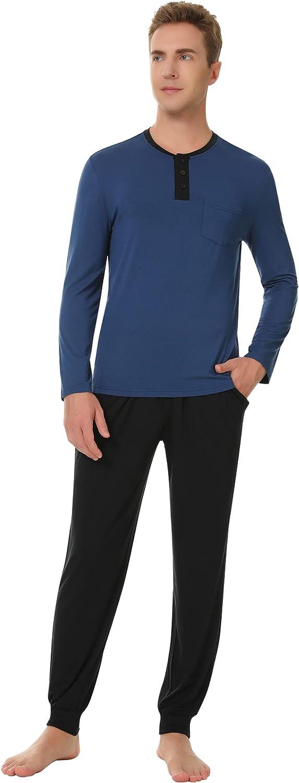 NACHILA Mens Bamboo Pajamas Set Long Sleeve Buttons Soft sleepwear Lounge Pants with Pocket Pjs S-XXL
