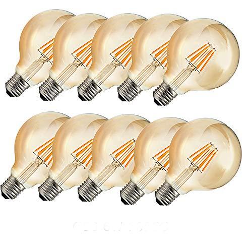 OUGEER 10 bombillas LED Edison G80 E27, 6 W, estilo retro, bombilla...