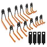 Synlyn 12 Stück Garage Doppelhaken Wandhaken Eisen Gerätehaken Utility Werkzeughalter Fahrrad Wandhalterung Schwerlast Storage Haken zur Wandmontage, Organisation von Elektrowerkzeugen(Orange)