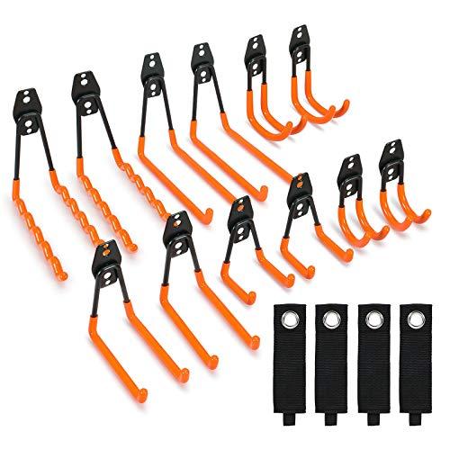 Synlyn 12 ganchos dobles de pared para garaje, de hierro, para herramientas,...