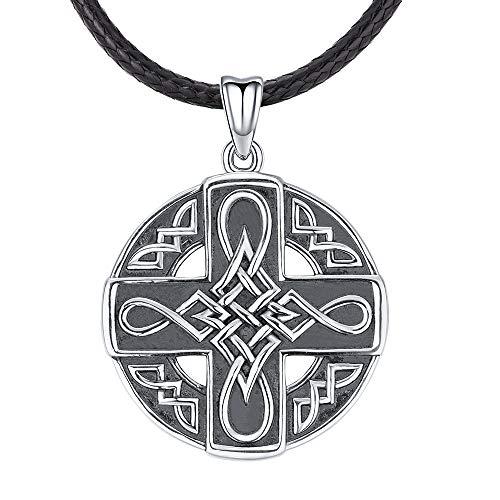 925 Sterling Silber keltische Halskette für Herren, Vintage Herren Anhänger Segen Schutz Schmuck mit Geschenkbox