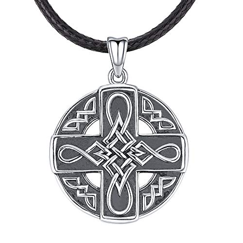 925 Sterling Silver Celtic Necklace for Men, Vintage Men's Pendant Blessing Protection Jewellery with Gift Box