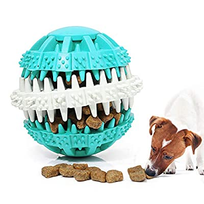 AnNido Dog Toy Ball, Bite Resistant Chew Toys for Dogs Puppy Cat, Food Dispensing Ball, Rubber Ball Treat Toy, Durable and Multifunctional Molar Toy Tooth Cleaning Ball- Blue
