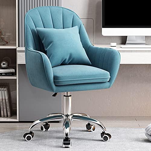 Silla de oficina en casa Color de tapicería perfecta silla giratoria de 360 ° con reposabrazos Silla de visita Tela de franela delicada, silla de escritorio ajustable en