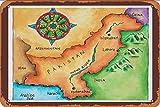 GUANGZHOU Map of Pakistan Retro Metal Sign Wall Plaque