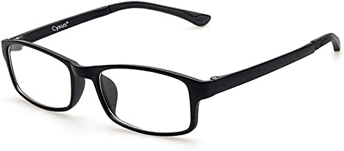 Cyxus Blue Light Blocking Glasses for Anti Eye Strain Headache [Lightweight TR90] Computer Use Eyewear, Men/Women (8327, TR90 Black)