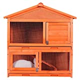 ZSQ Pet Cage for Bunny Indoor and Outdoor Rabbit Hutch Wood House for Small Pets Two Story Design