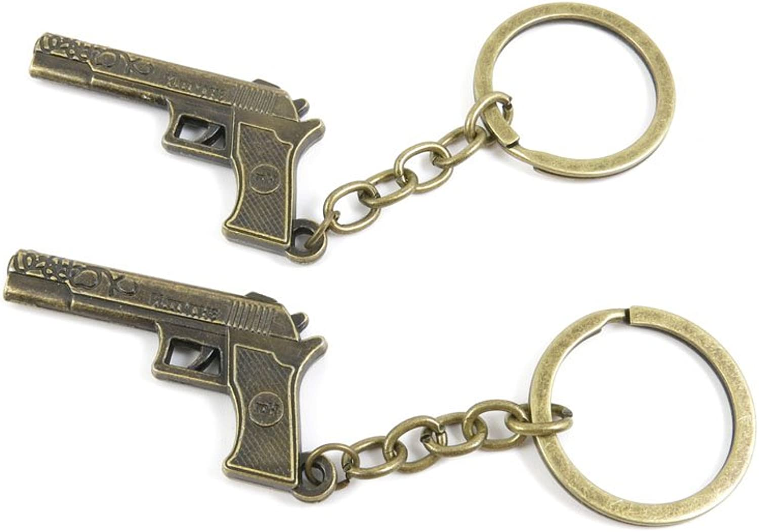 100 PCS Keyrings Keychains Key Ring Chains Tags Jewelry Findings Clasps Buckles Supplies I2RV7 Pistol Gun
