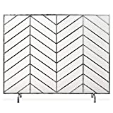 Best Choice Products 38x31in Single Panel Handcrafted Wrought Iron Mesh Chevron Fireplace Screen, Fire Spark Guard for Living Room, Bedroom Décor w/Distressed Antique Finish - Pewter