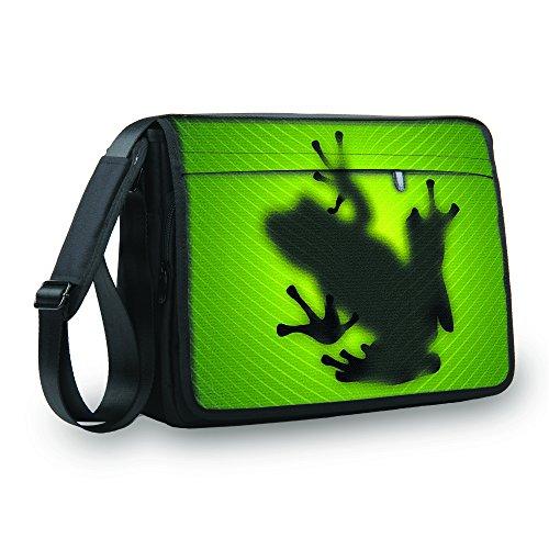 MySleeveDesign Messenger Bag Laptoptasche Notebooktasche mit Tragegurt - Tasche für Laptop und Notebook der Größen 13,3 Zoll / 14 Zoll / 15,6 Zoll / 17,3 Zoll - VERSCH. Designs - Frog - 15