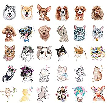 Ooopsiun 30 Pieces Animals Temporary Tattoos for Kids Women Dogs Cats Waterproof Tattoos for Boys Girls