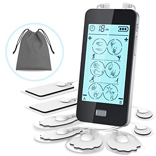 Electroestimulador Muscular Digital,Masaje EMS TENS 24 Modes Pantalla Táctil,2 Canales A y B para Dos Personal Usar Mientras, 20 Niveles, 8 Electrodos Autoadhesivos para Aliviar el Dolor Muscular