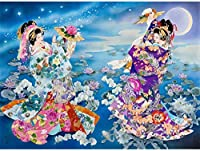 5Dダイヤモンド刺繡日本人女性芸者DIYダイヤモンド絵画クロスステッチフルモザイクスクエアラインストーン針仕事40x50cm