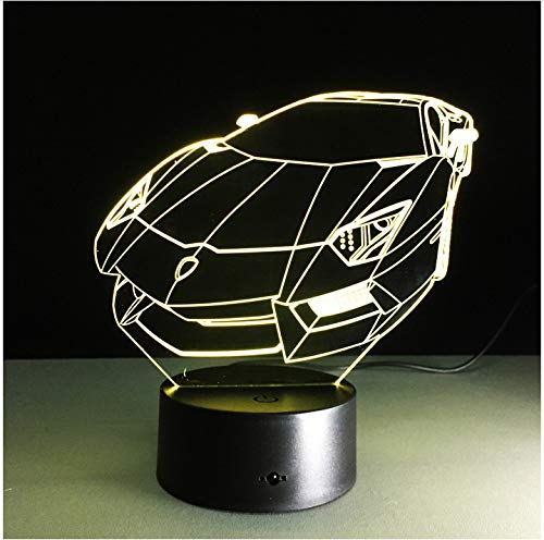 USB Lamp 3D Cool Car Shape Small Night Light Novelty Led 3D Visual Touch Button Lightings 7 Color lamparas Home Decorations Without Controller