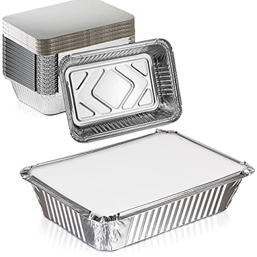 [50 Pack] Rectangular Disposable Aluminum Foil Pan Take Out Food Containers with Flat Board Lids, Steam Table Baking Pans, 32 oz, 2.25 lb, Quart