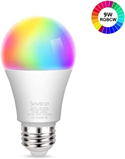 Sinvitron Led Wifi Smart Light Bulb, E26 9W Dimmable Smart Wifi Light Bulb Compatible with Alexa Google Home and IFTTT, No Hub Required, 820lm, RGBCW Multi-color Changing?A19 60W Equivalent (1 Pack)