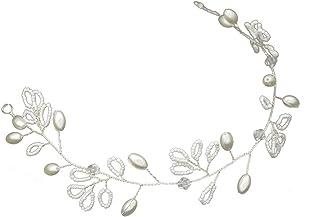 Frcolor Bridal Headband Crystal pearl Hair Band Wedding Dress Tiara Hair Accessories for Wedding (White)
