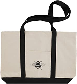 Cotton Canvas Boat Tote Bag Bumblebee Vintage Look #2 By Style In Print | Black