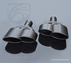 Mina Gallery Black Exhaust Muffler Dual Double S-Class W221 AMG Style Quad Tips Mercedes