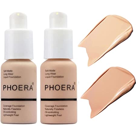 2 Pcs Soft Matte Full Coverage Liquid Foundation Brighten Highlighting Matte Oil Control Concealer Facial Blemish Concealer Color Changing Foundation for Women Girls, 102 Nude & 103 Warm Peach