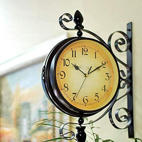 ZHJIUXING ST Reloj De Pared De Doble Cara Reloj De Pie Retro Reloj De Pared De La Estación Soporte Vintage De Aspecto Antiguo Reloj De Decoración Colgante, Black