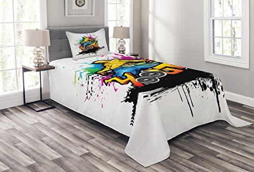 ABAKUHAUS Jugend Tagesdecke Set, Junger Mann Hip Hop Kultur, Set mit Kissenbezug luftdurchlässig, für Einselbetten 170 x 220 cm, Multicolor