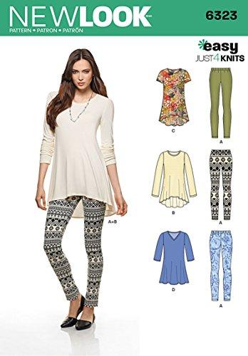 New look eenvoudig slechts 4 naaien patroon 6323: Misses' gebreide legging en trui tunieken, maat A(XS-S-M-L-XL)