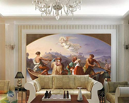 ZDBWJJ Individueel fotobehang 3D-muurafbeelding Engel Europa olieverfschilderij achtergrond 3D-muurafbeelding 350cmx245cm
