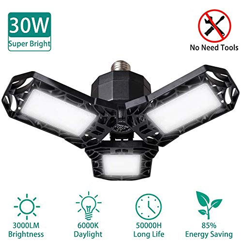 LED Garage Lights, 30W Deformable Garage Ceiling Light,3000Lumens CRI 80 6000k Led Light Bulb with 3 Adjustable Panels Basement Light
