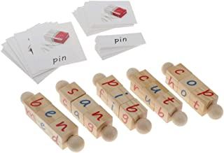 Baosity Pack of 5 Montessori Phonetic Reading Blocks & Cards Alphabet for Toddlers