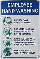 従業員手洗いハンドメタル錫サイン洗濯洗剤従業員は手洗い石鹸泡ウォッシュサインレトロホームハンギングアートワークプラーク壁装飾サインアウトドアリビングパブリックサイン8X12インチ メタルプレートブリキ 看板 2枚セットアンティークレトロ