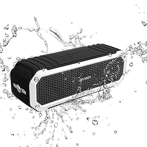 Altavoz Bluetooth,Altavoces Inalámbricos Portatiles 10W Drivers Impermeable,ARCHEER Altavoz Estereo para Ducha con LED 12h Uso Equipo de Sonido para Móvil,iOS,Tablets,Aire Libre Plata