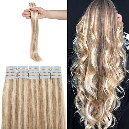 Extension Biadesivo Capelli Veri Adesive Biondo Cenere mix Biondo #18/613- Capelli Lisci Lungano 45cm, 2.5g/fascia 20 fasce/set - 100% Remy Human Hair Tape in Umani