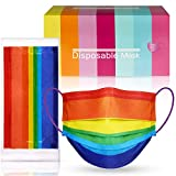 50PCS Disposable Protective Face Mask Rainbow Colors 3-Layer Individually Wrapped Soft Elastic Earloop Skin-Friendly Breathable Comfortable Sanitary Nonwoven Fabrics (Random Rainbow Patterns & Colors)