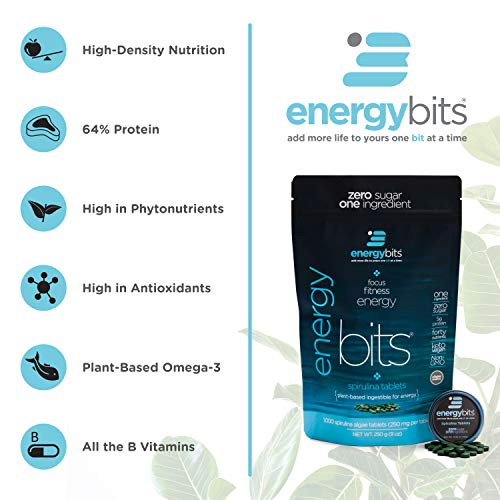ENERGYbits Pure Spirulina Tablets - Bag of 1,000 Tablets (250mg per Tablet) - Non-GMO, Non-Irradiated, Blue Green Algae - Keto, Vegan, Superfood