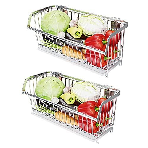 AILILI Porta Cubiertos para Cocina -Cesta Colgante Frutero Pared,Fuerte Capacidad De Carga,Cestos para Colgar,Cestas De Frutas Y Verduras 2/3 Niveles (Color : Silver, Size : 2 Baskets)